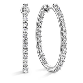 HOF Oval Classic Diamond Hoope Inside-Out - Large